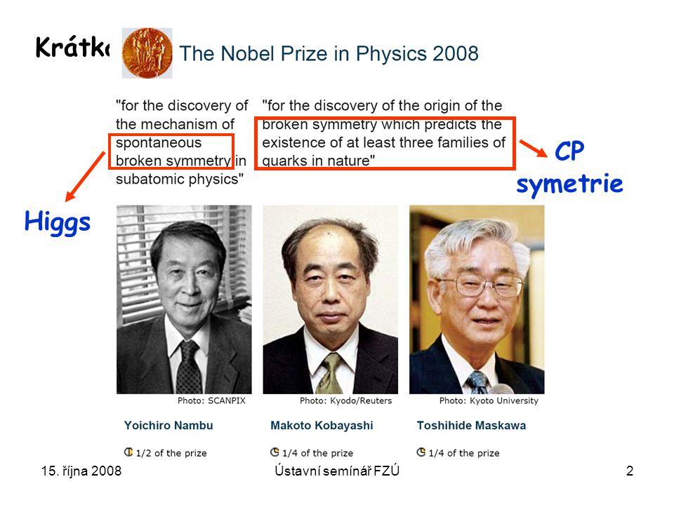 Higgs CP symetrie Krátká odbočka 15. října 2008 Ústavní semínář FZÚ