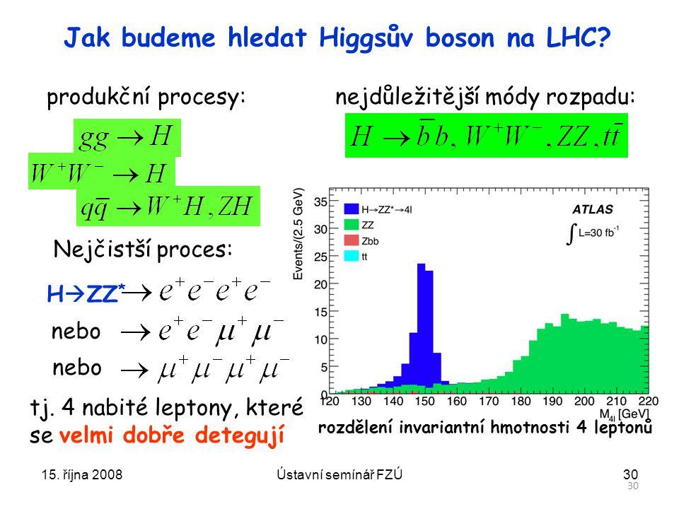Jak budeme hledat Higgsův boson na LHC