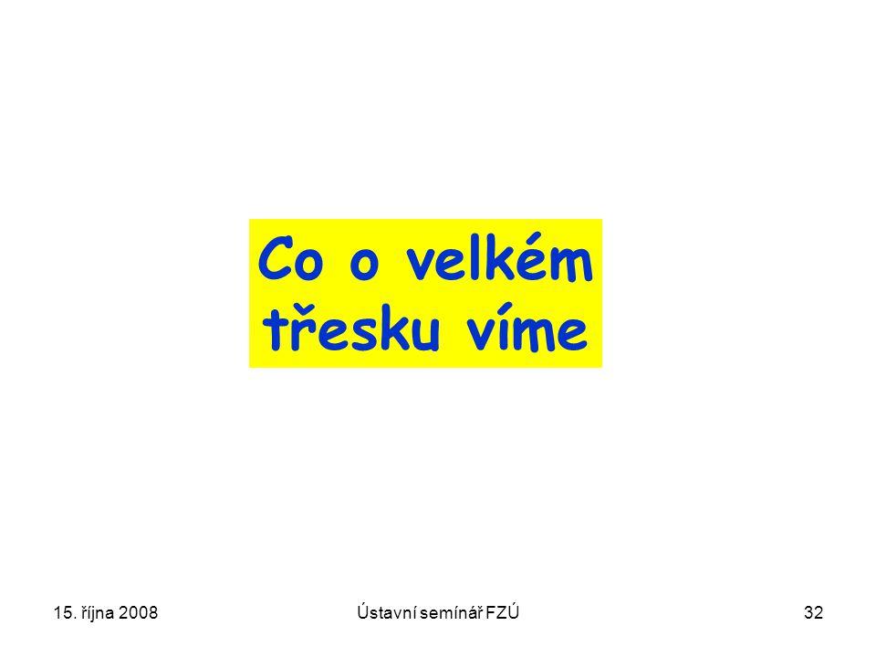 Co o velkém třesku víme 15. října 2008 Ústavní semínář FZÚ