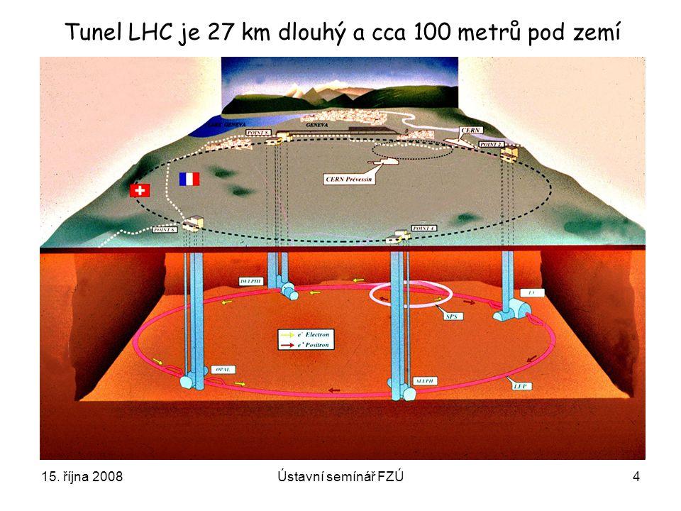 Tunel LHC je 27 km dlouhý a cca 100 metrů pod zemí