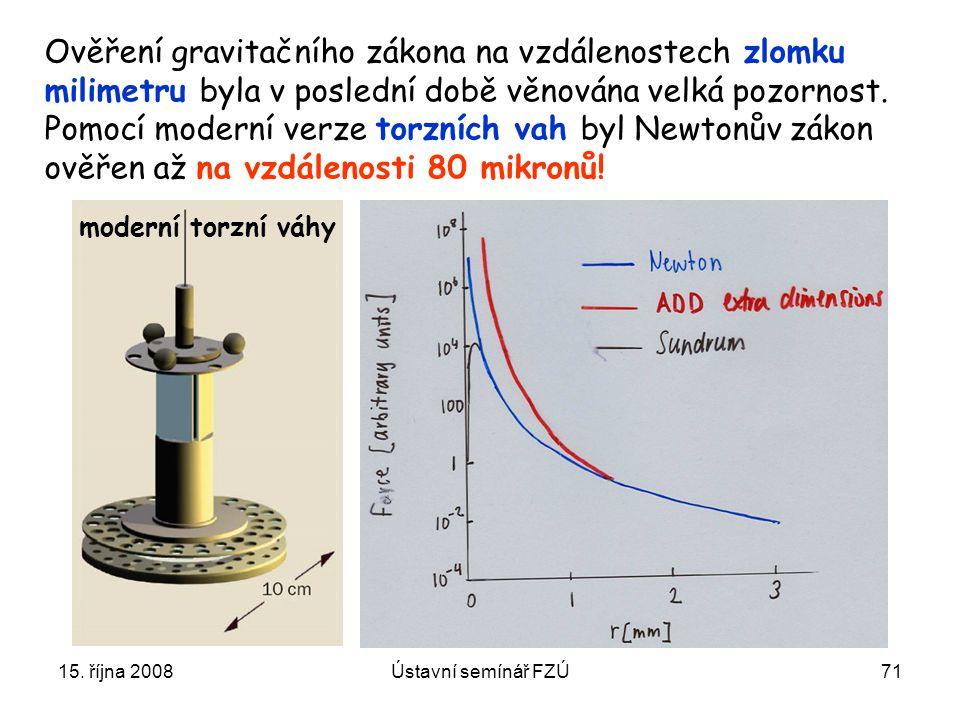 Ověření gravitačního zákona na vzdálenostech zlomku