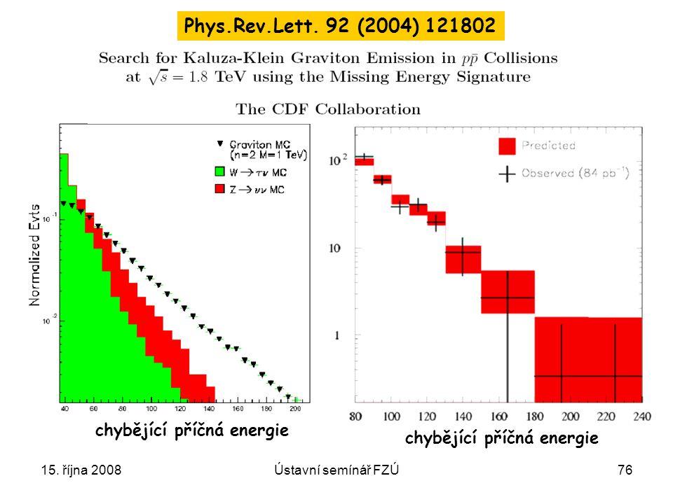 Phys.Rev.Lett. 92 (2004) 121802 chybějící příčná energie