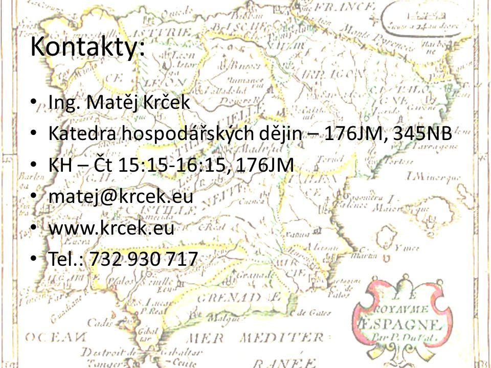 Kontakty: Ing. Matěj Krček Katedra hospodářských dějin – 176JM, 345NB