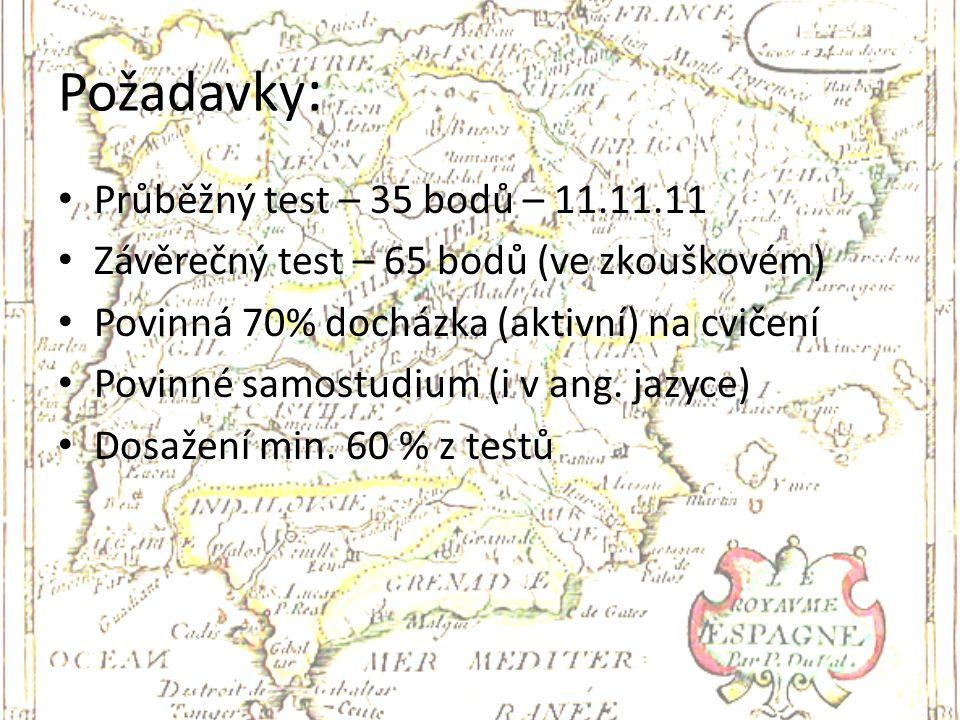 Požadavky: Průběžný test – 35 bodů – 11.11.11