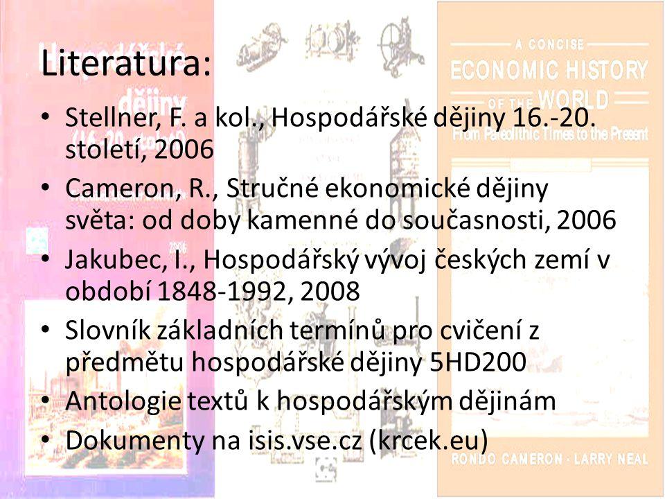 Literatura: Stellner, F. a kol., Hospodářské dějiny 16.-20. století, 2006.