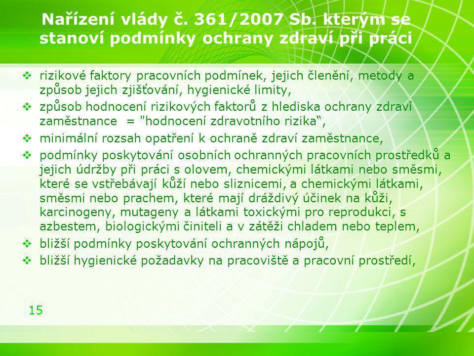 Nařízení vlády č. 361/2007 Sb. kterým se stanoví podmínky ochrany zdraví při práci