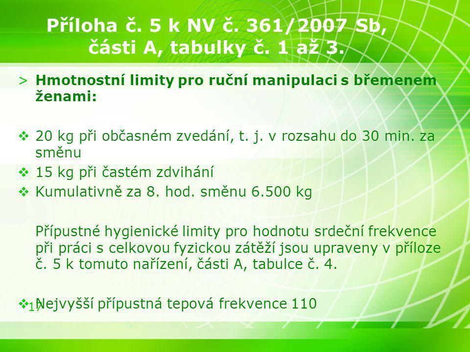 Příloha č. 5 k NV č. 361/2007 Sb, části A, tabulky č. 1 až 3.