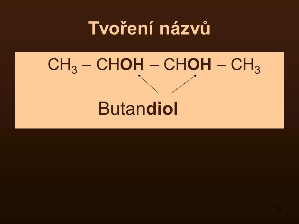 Tvoření názvů CH3 – CHOH – CHOH – CH3 Butandiol