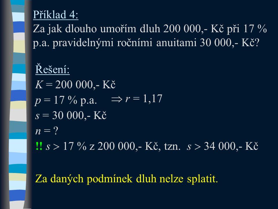Příklad 4: Za jak dlouho umořím dluh 200 000,- Kč při 17 % p. a