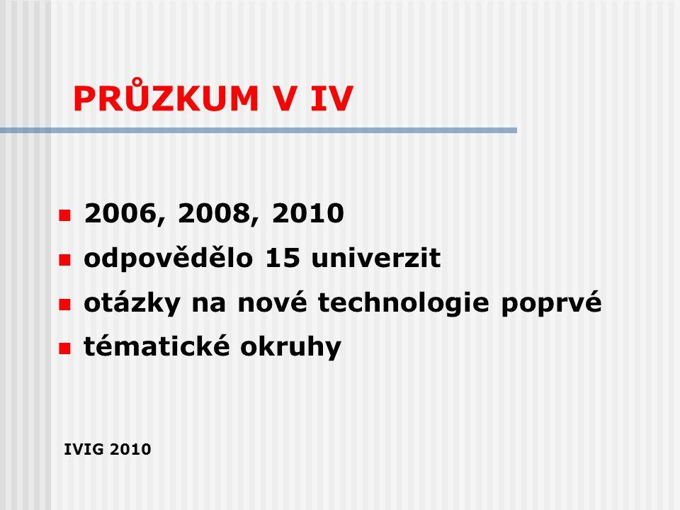 PRŮZKUM V IV 2006, 2008, 2010 odpovědělo 15 univerzit