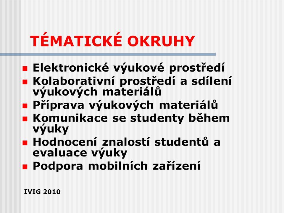 TÉMATICKÉ OKRUHY Elektronické výukové prostředí