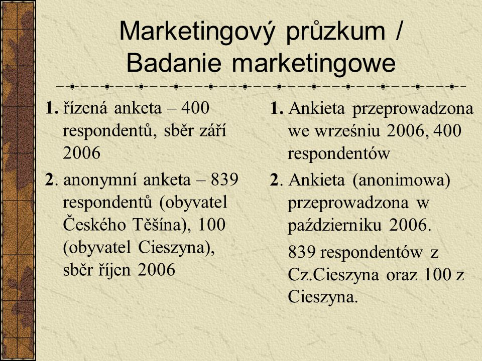 Marketingový průzkum / Badanie marketingowe