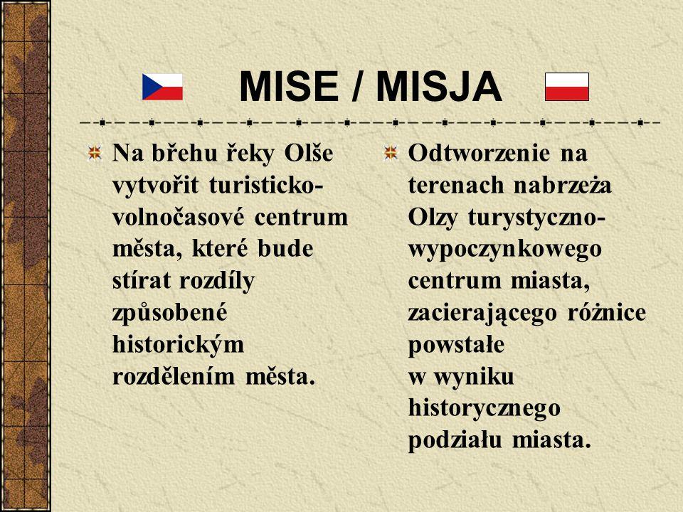 MISE / MISJA Na břehu řeky Olše vytvořit turisticko-volnočasové centrum města, které bude stírat rozdíly způsobené historickým rozdělením města.