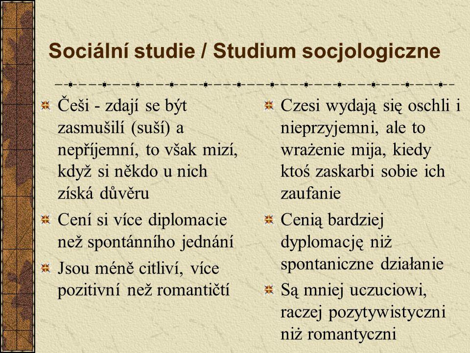 Sociální studie / Studium socjologiczne