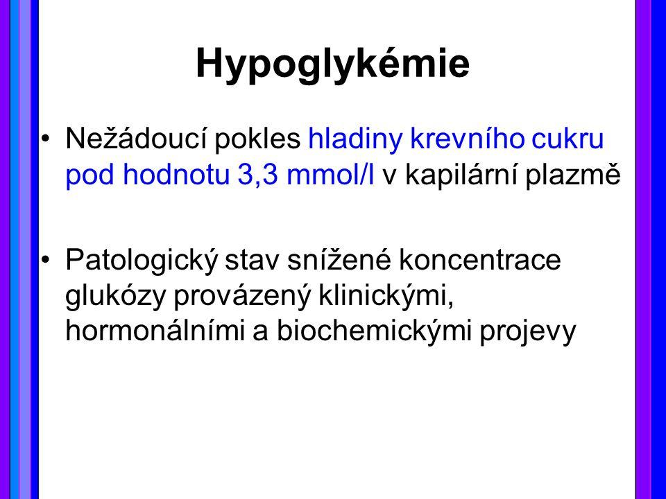 Hypoglykémie Nežádoucí pokles hladiny krevního cukru pod hodnotu 3,3 mmol/l v kapilární plazmě.
