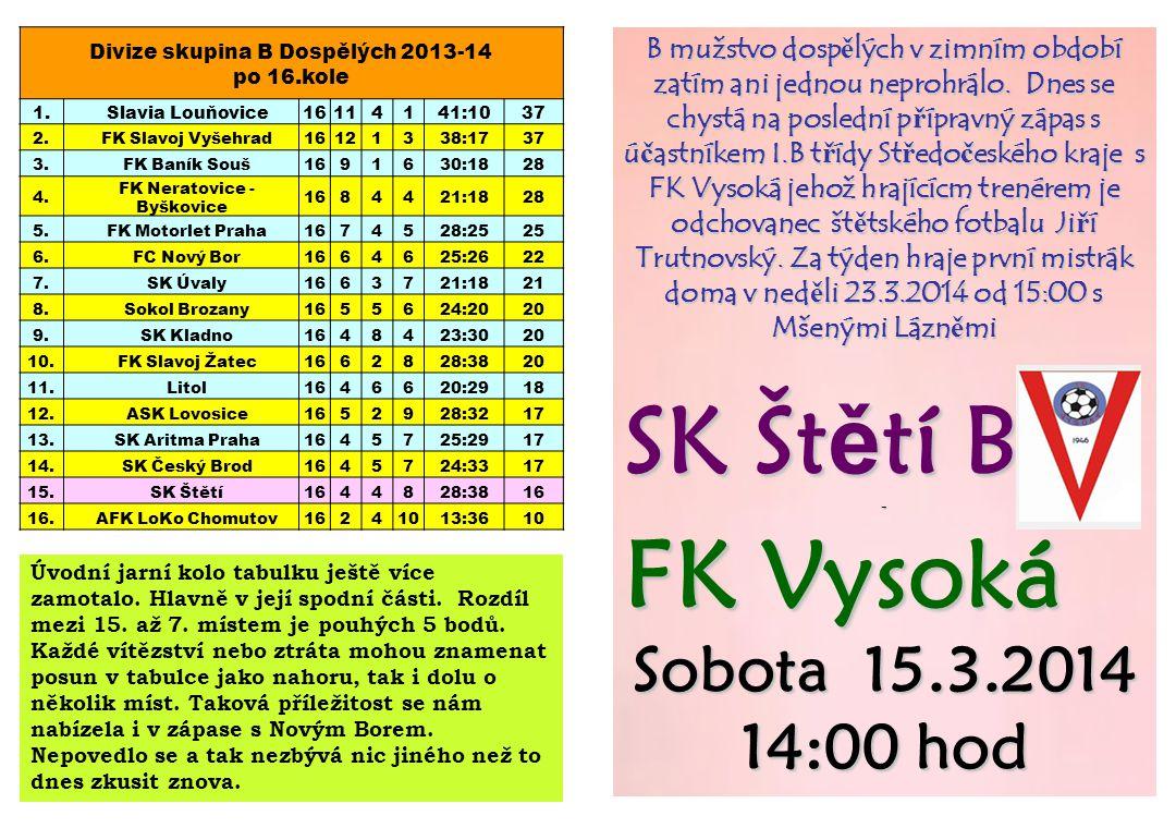 SK Štětí B FK Vysoká Sobota 15.3.2014 14:00 hod