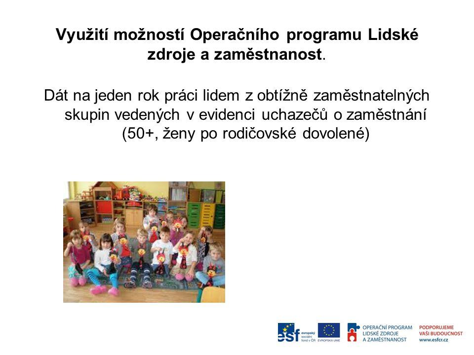 Využití možností Operačního programu Lidské zdroje a zaměstnanost.