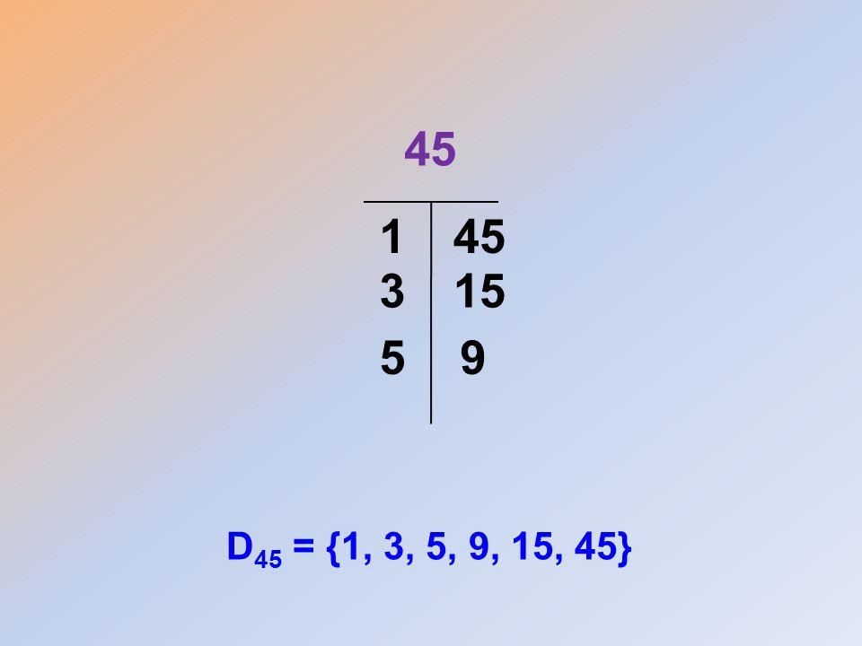 45 1 45 3 15 5 9 D45 = {1, 3, 5, 9, 15, 45}