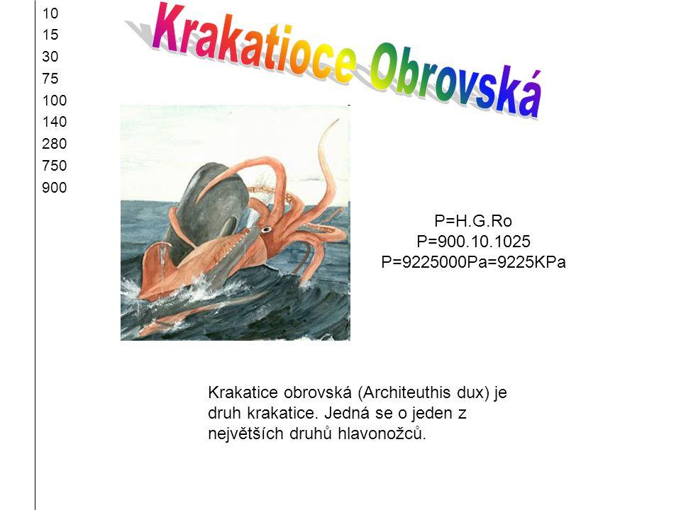 Krakatioce Obrovská P=H.G.Ro P=900.10.1025 P=9225000Pa=9225KPa