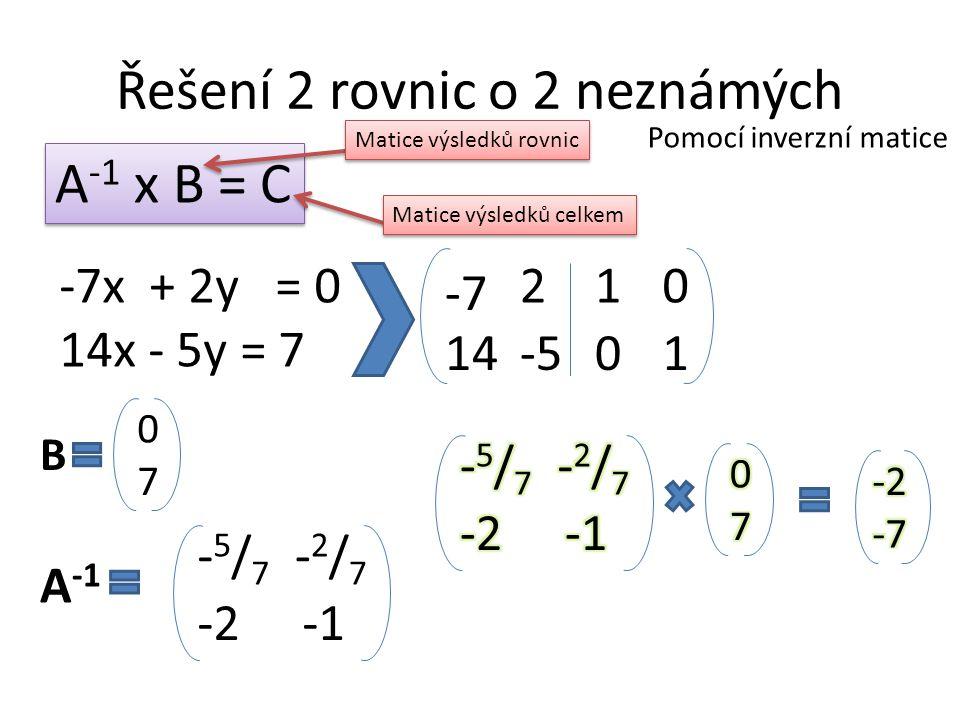 Řešení 2 rovnic o 2 neznámých
