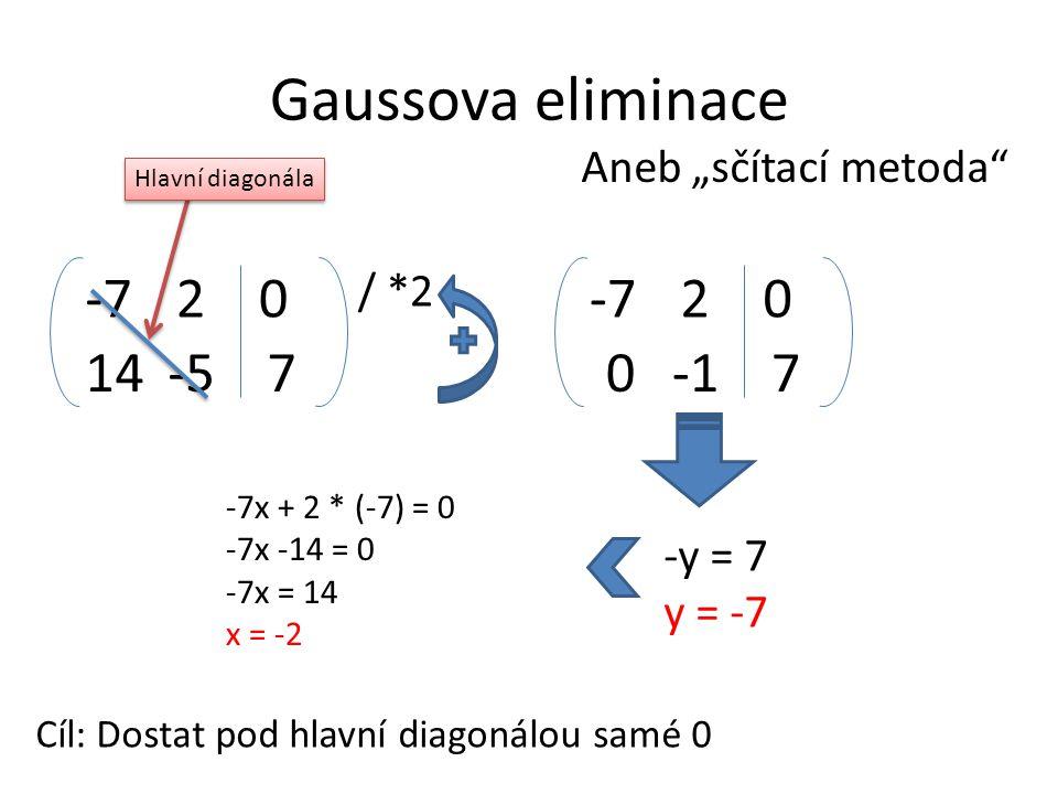 """Gaussova eliminace -7 2 -7 2 14 -5 7 -1 7 Aneb """"sčítací metoda / *2"""