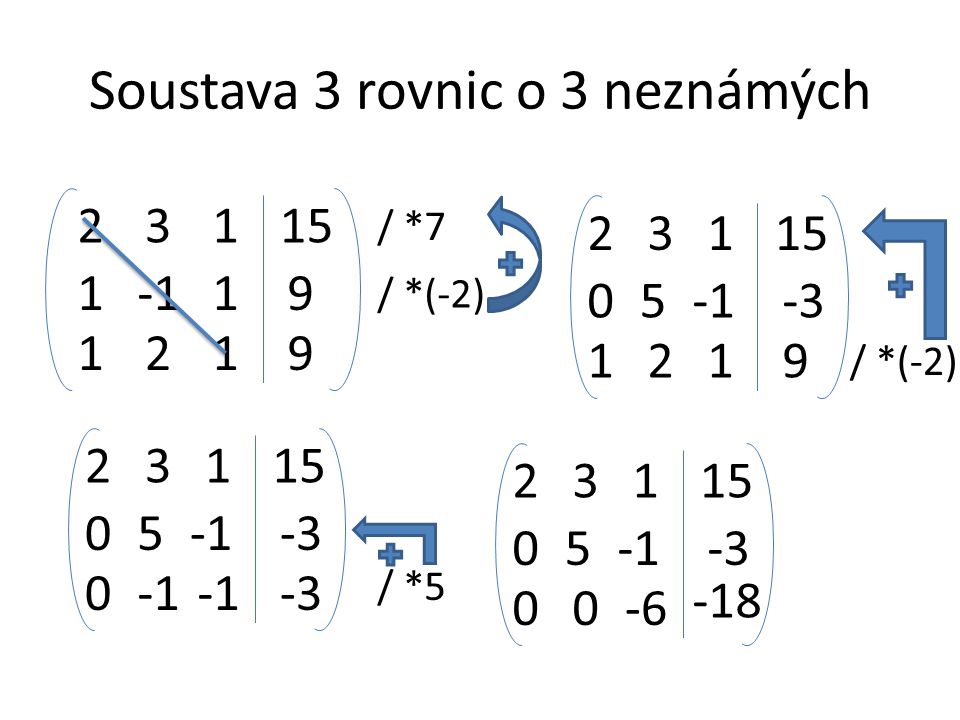 Soustava 3 rovnic o 3 neznámých