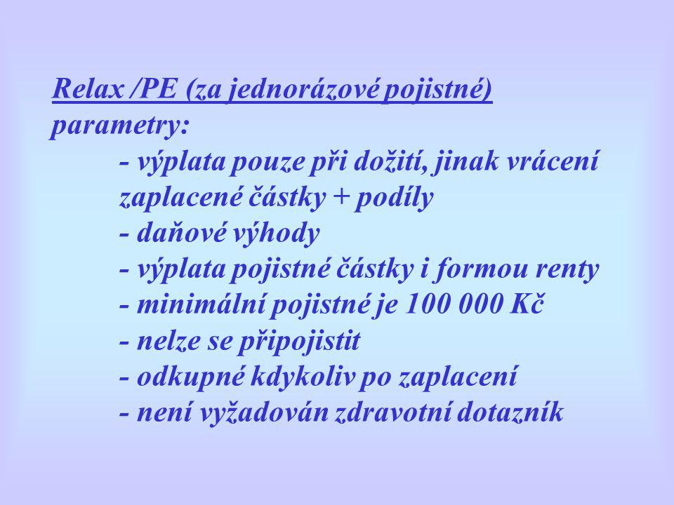 Relax /PE (za jednorázové pojistné) parametry: