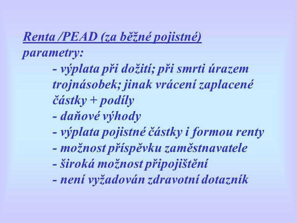 Renta /PEAD (za běžné pojistné) parametry: