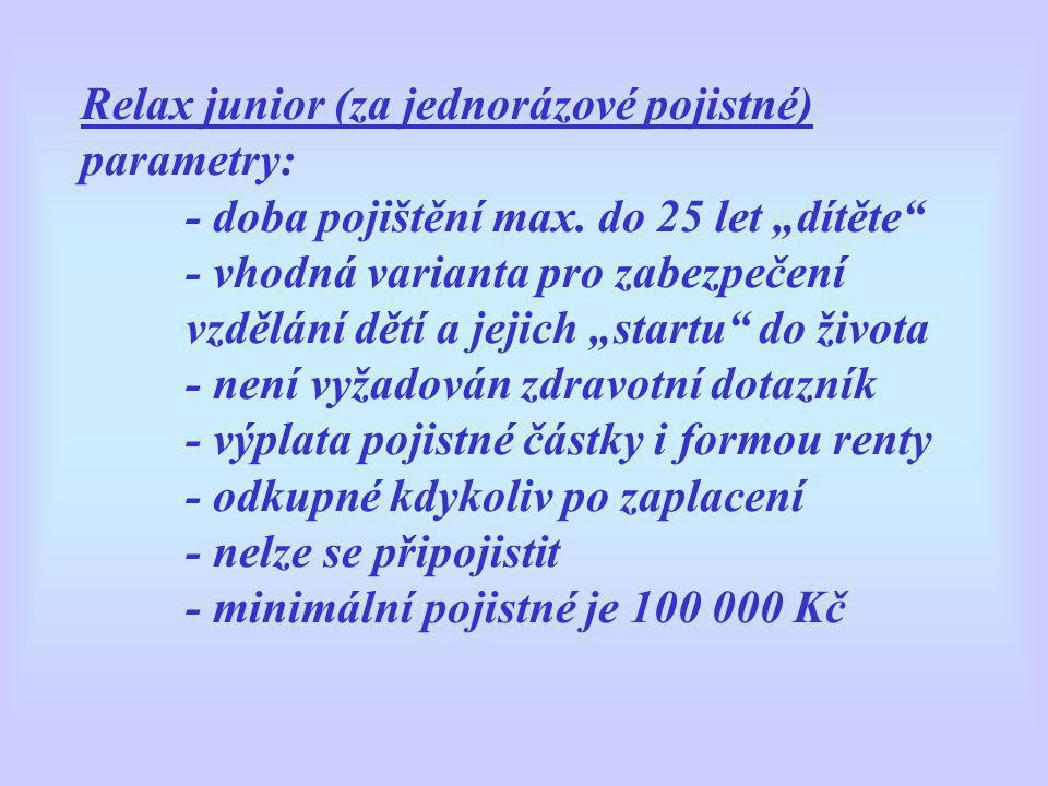 Relax junior (za jednorázové pojistné) parametry: - doba pojištění max.