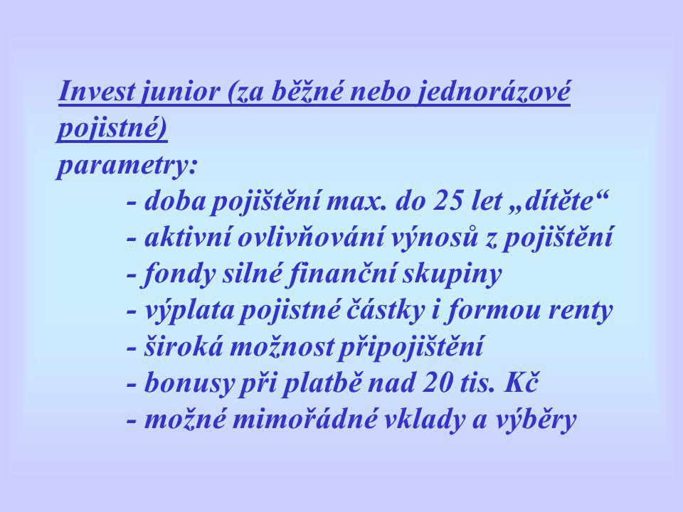 Invest junior (za běžné nebo jednorázové pojistné) parametry: