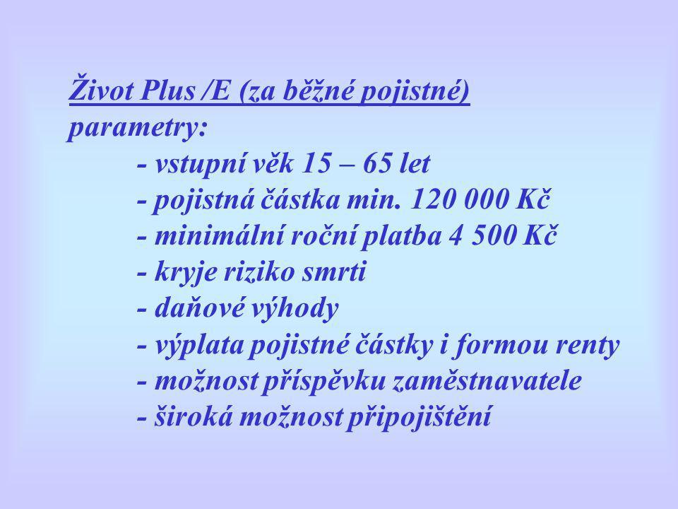 Život Plus /E (za běžné pojistné) parametry: - vstupní věk 15 – 65 let - pojistná částka min.