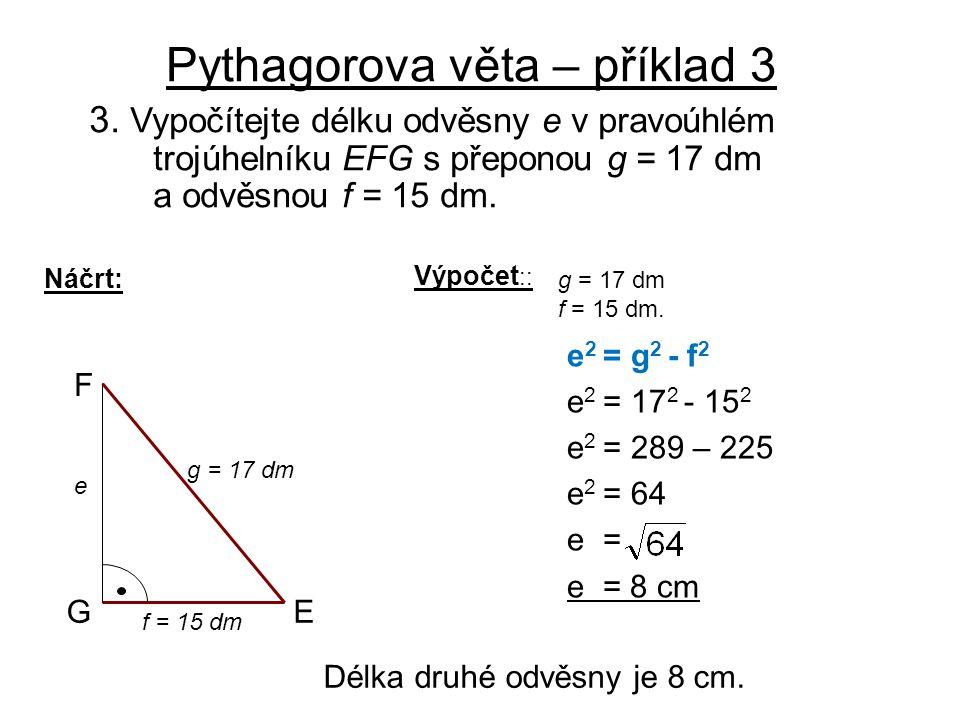 Pythagorova věta – příklad 3