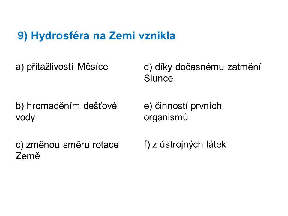 9) Hydrosféra na Zemi vznikla