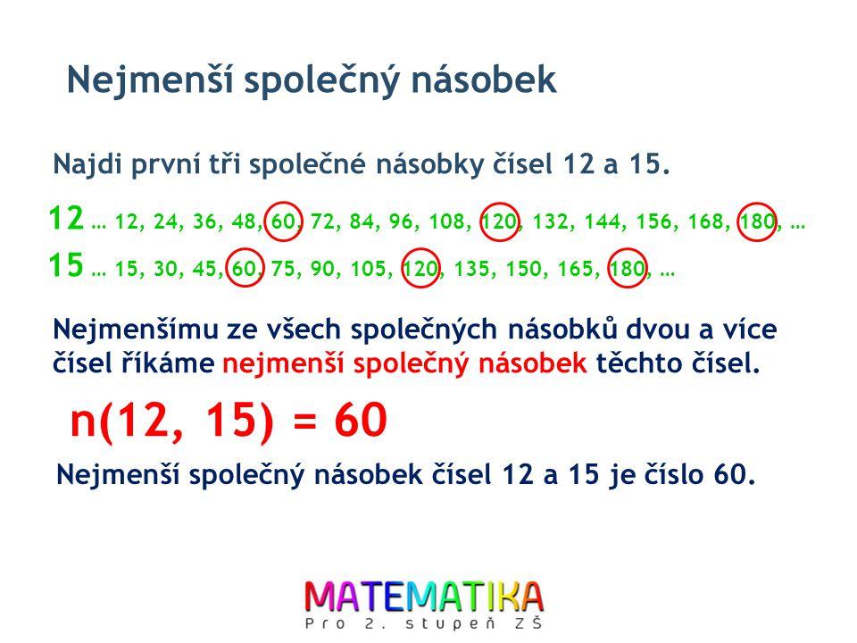 n(12, 15) = 60 Nejmenší společný násobek
