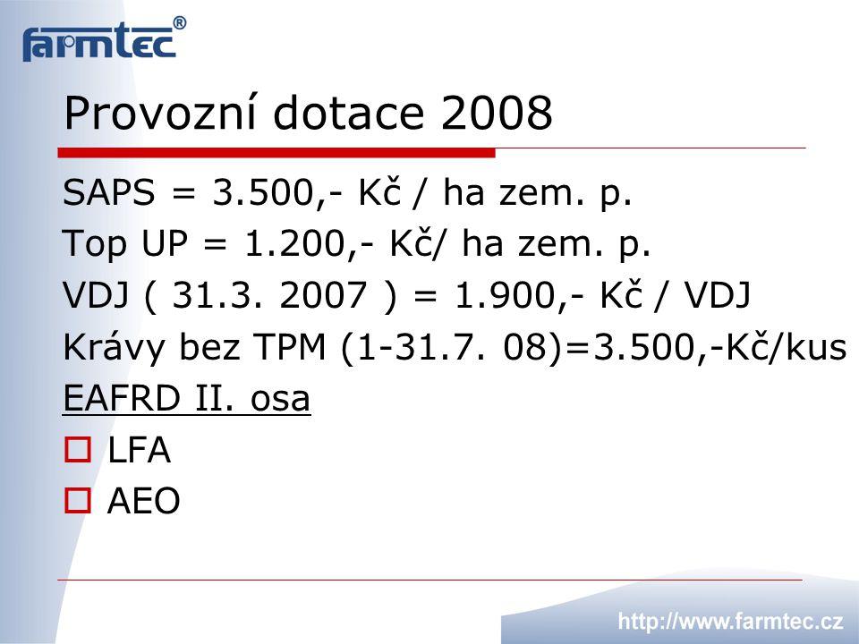 Provozní dotace 2008 SAPS = 3.500,- Kč / ha zem. p.
