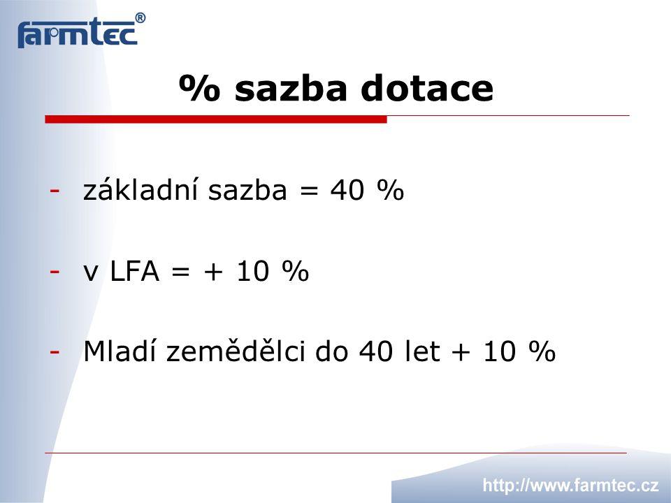 % sazba dotace základní sazba = 40 % v LFA = + 10 %