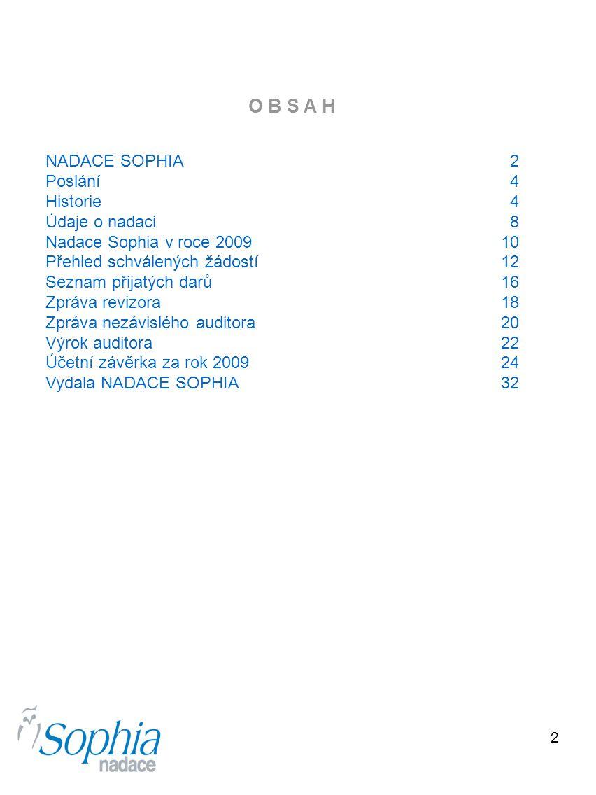 O B S A H NADACE SOPHIA 2 Poslání 4 Historie 4 Údaje o nadaci 8