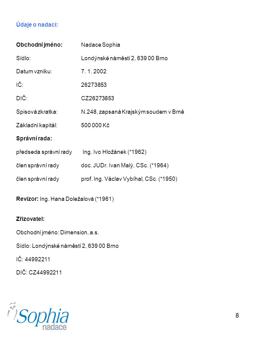 Údaje o nadaci: Obchodní jméno: Nadace Sophia. Sídlo: Londýnské náměstí 2, 639 00 Brno. Datum vzniku: 7. 1. 2002.