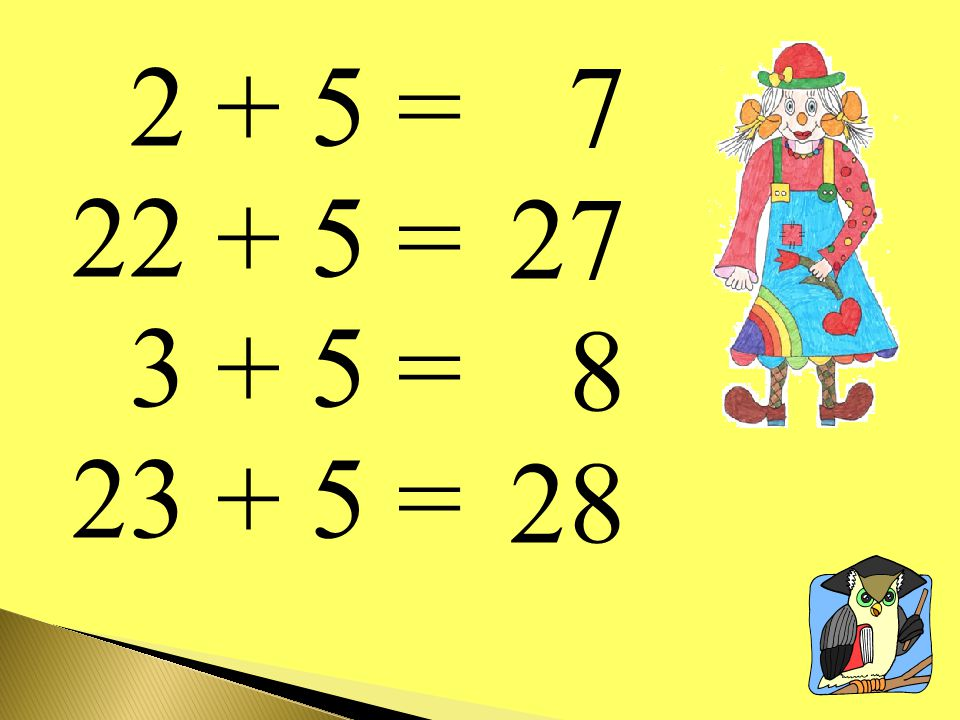 2 + 5 = 22 + 5 = 3 + 5 = 23 + 5 = 7 27 8 28