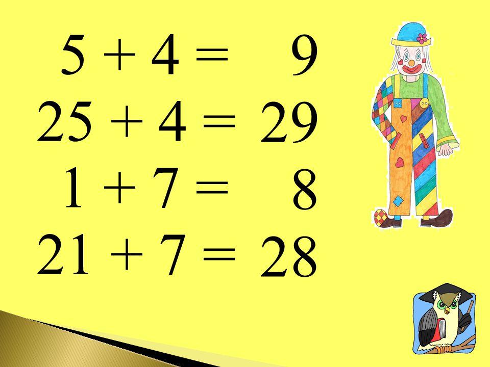 5 + 4 = 25 + 4 = 1 + 7 = 21 + 7 = 9 29 8 28