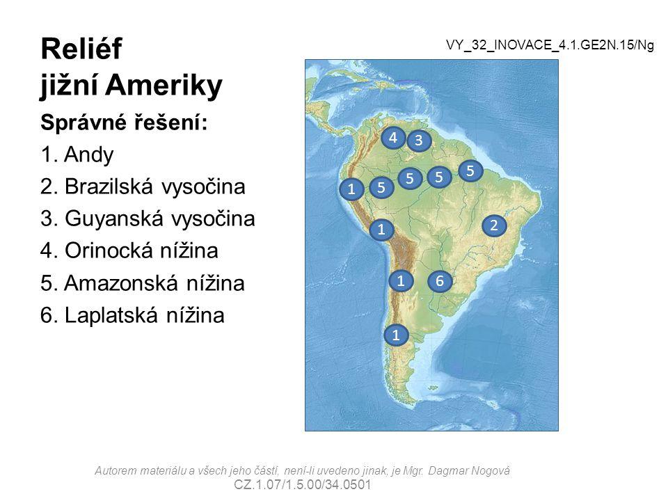 Reliéf jižní Ameriky Správné řešení: 1. Andy 2. Brazilská vysočina