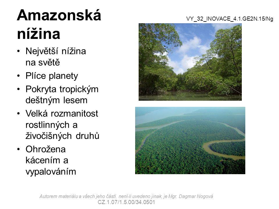 Amazonská nížina Největší nížina na světě Plíce planety