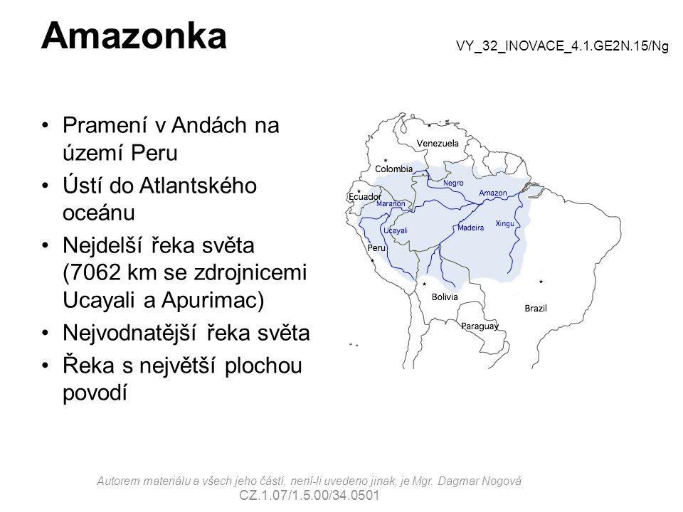 Amazonka Pramení v Andách na území Peru Ústí do Atlantského oceánu