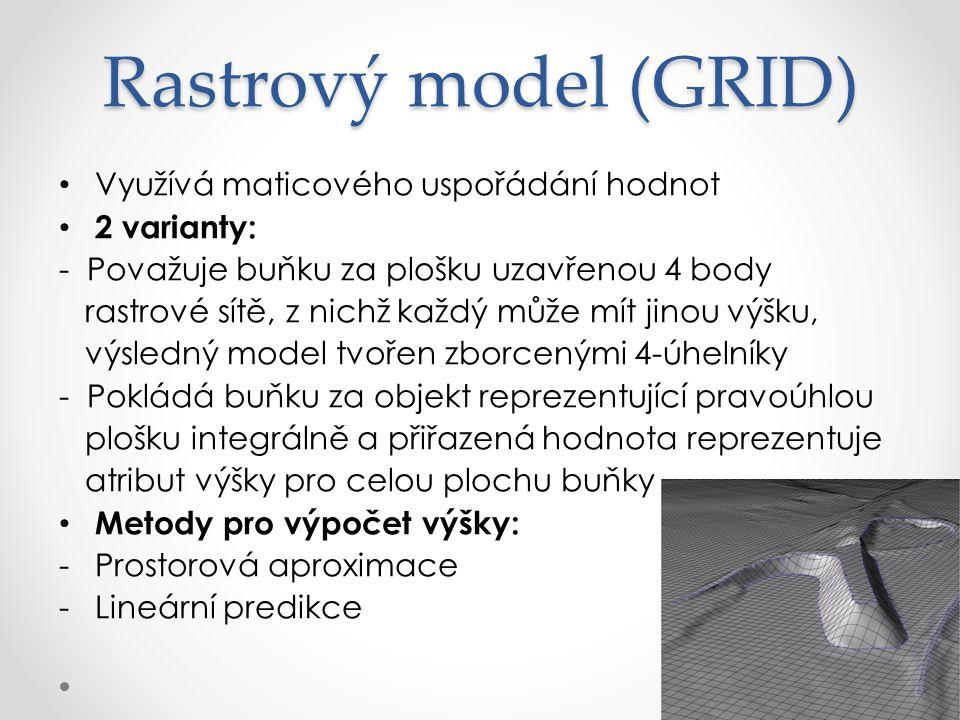 Rastrový model (GRID) Využívá maticového uspořádání hodnot 2 varianty: