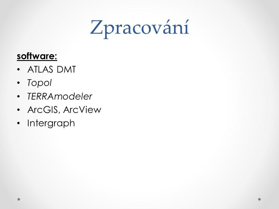 Zpracování software: ATLAS DMT Topol TERRAmodeler ArcGIS, ArcView