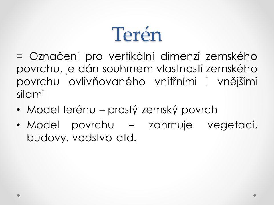 Terén = Označení pro vertikální dimenzi zemského povrchu, je dán souhrnem vlastností zemského povrchu ovlivňovaného vnitřními i vnějšími silami.