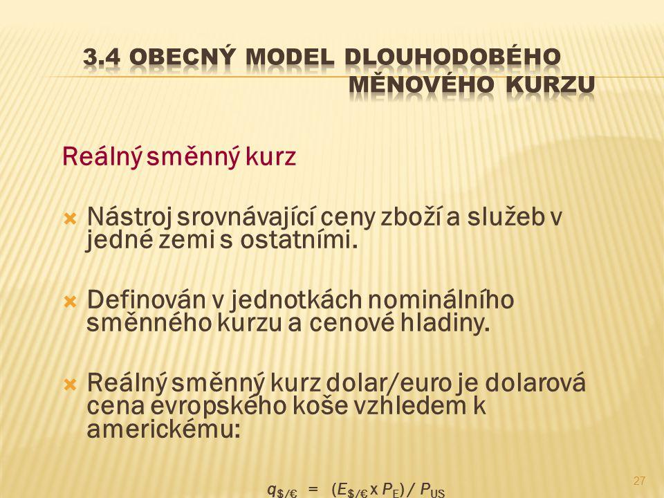 3.4 Obecný model dlouhodobého měnového kurzu