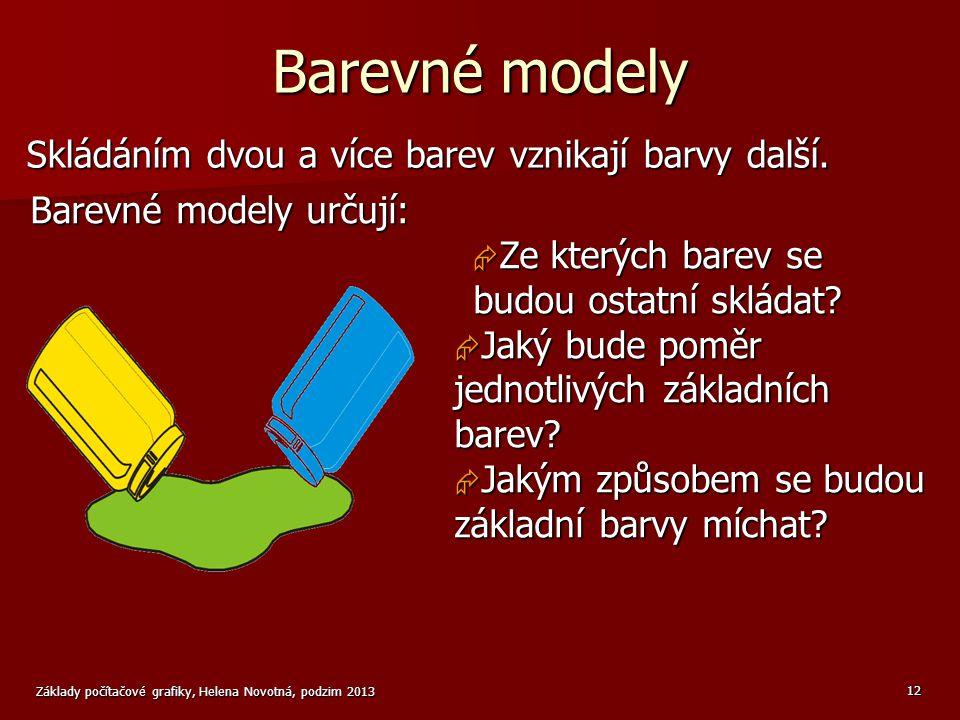 Barevné modely Skládáním dvou a více barev vznikají barvy další.