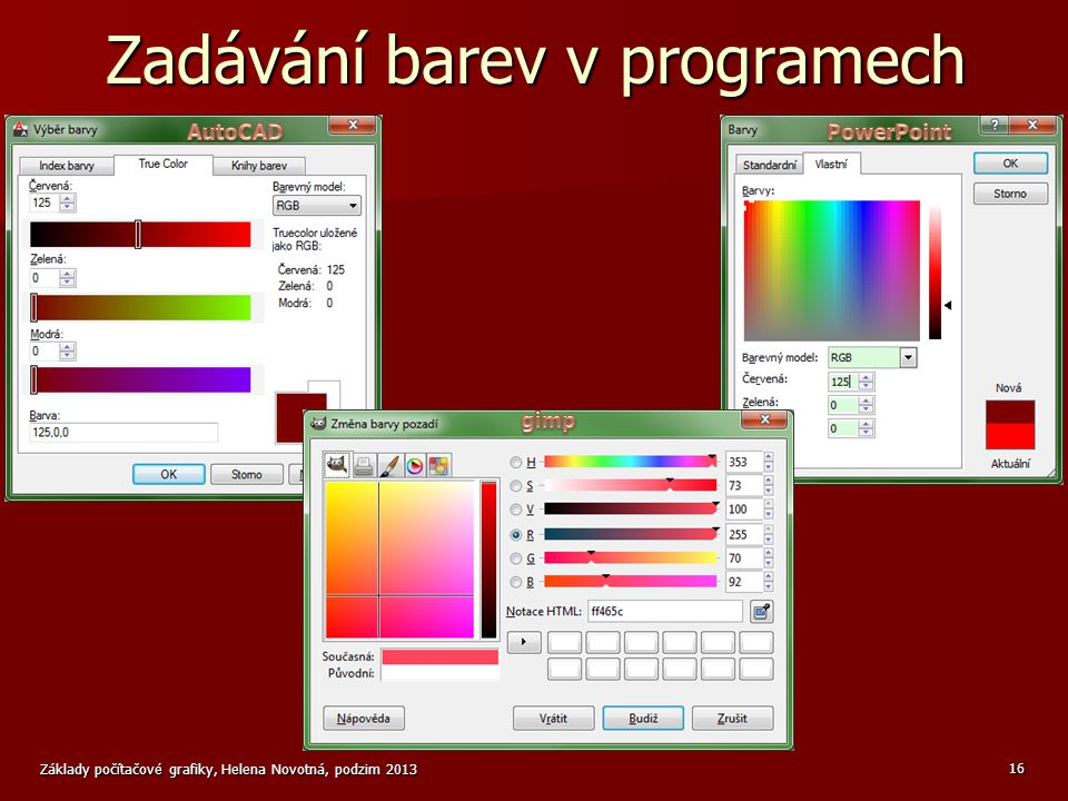 Zadávání barev v programech