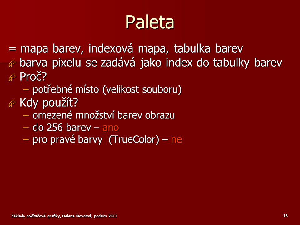 Paleta = mapa barev, indexová mapa, tabulka barev